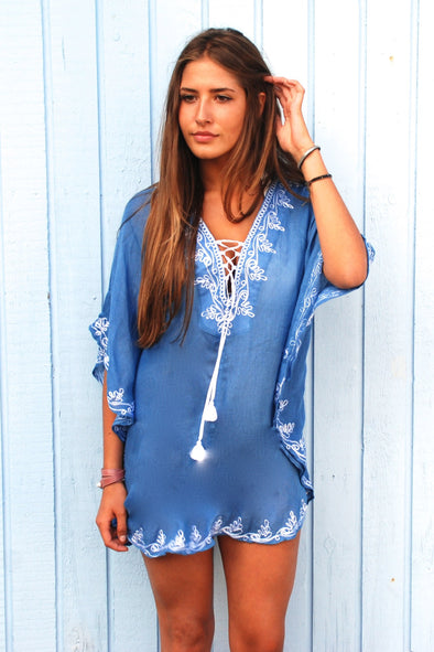 Ibiza Tunic Kaftan Dress - Blue with White