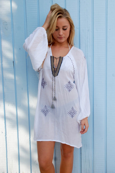 Mykonos Kaftan Dress - White with Burgundy Short