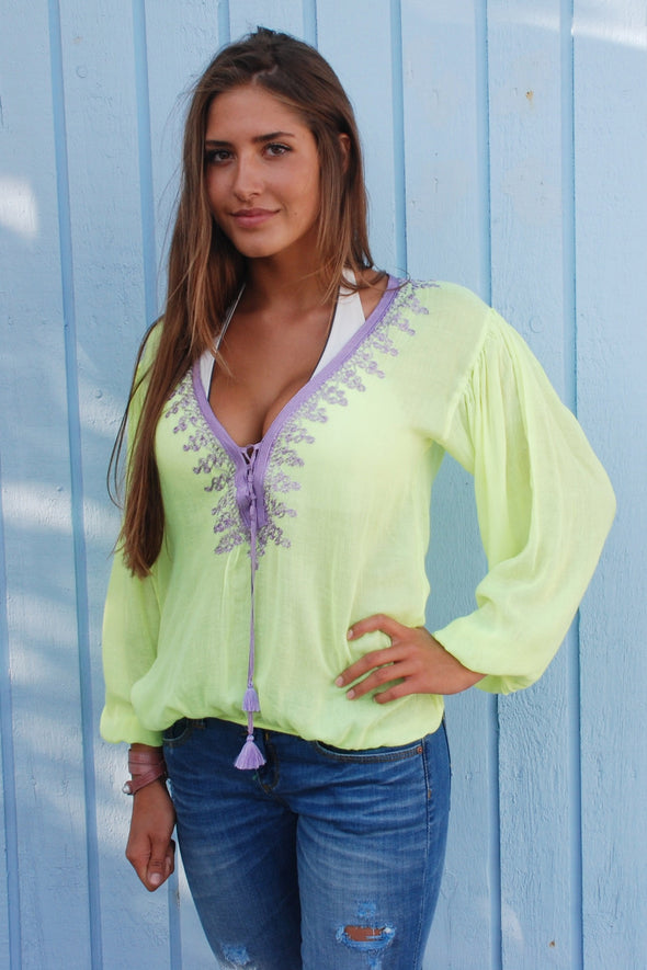 Amber Kaftan Top Fluorescent with Lilac