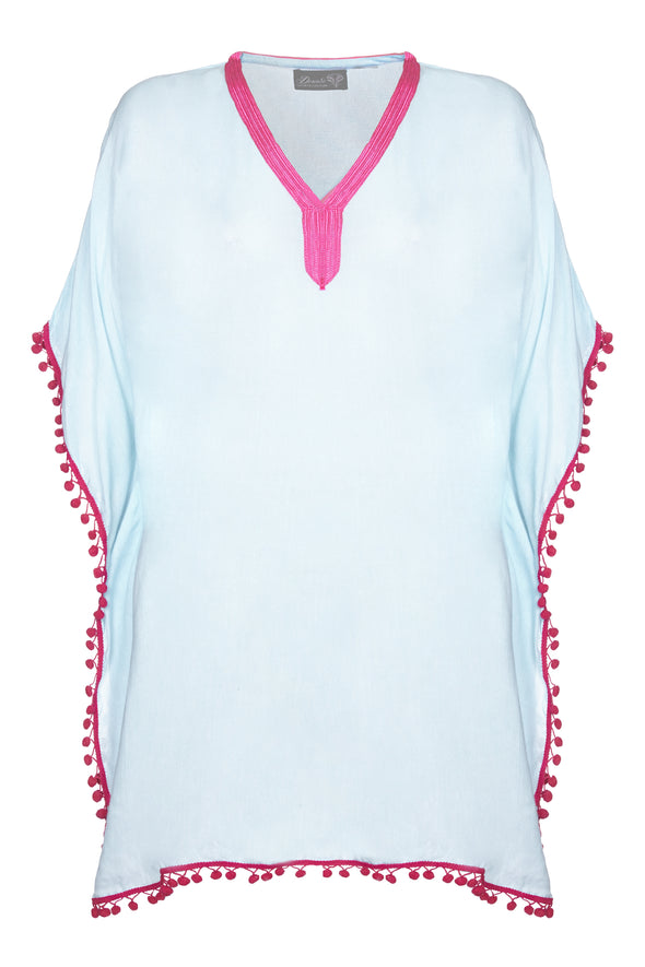Womens poncho kaftan tunic in turquoise with pink pompoms.  Elegant hidden shaping to sides.  One size fits most.