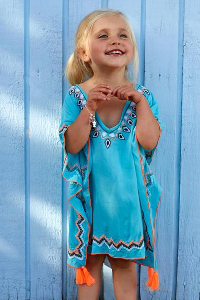 Childrens kaftan in turquoise with white and orange embroidery and tassles.  Available in sizes from age 2 to age 12.