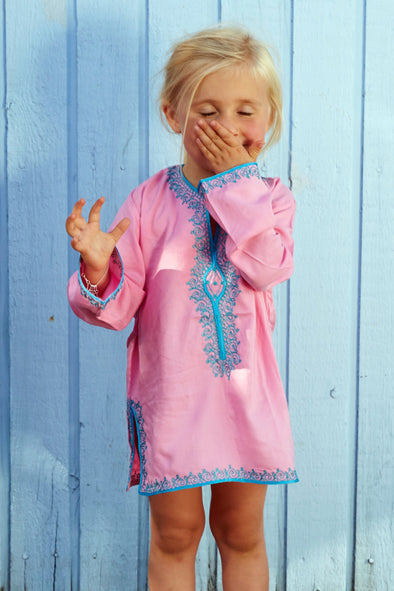 Kids Kaftan Pink with Turquoise Embroidery