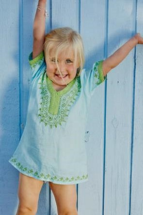 Kids kaftan in turquoise with lime shimmer embroidery to neckline.  Above the knee length and long sleeves.  Pure cotton.  Sizes age 2 to 10