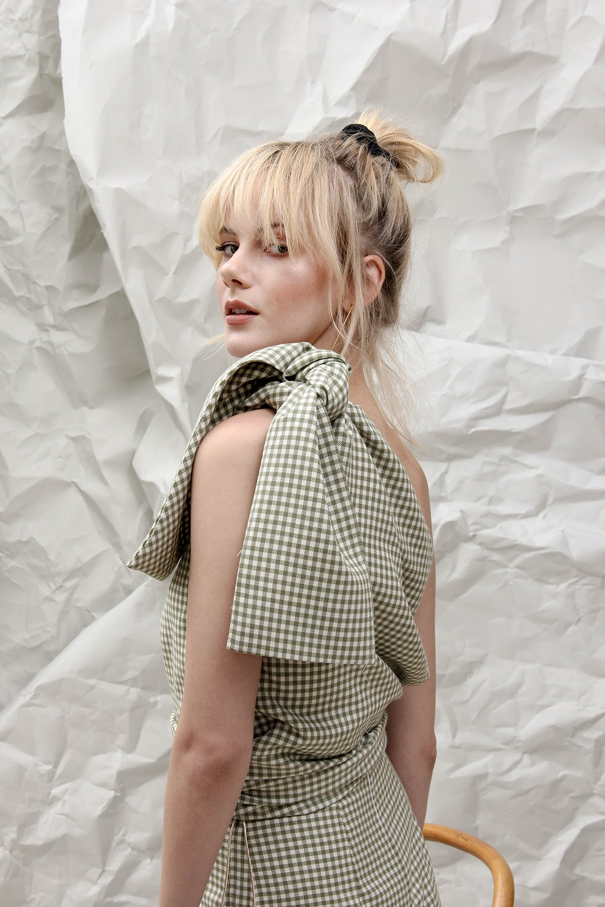 THE ALICE  GREEN GINGHAM TOP