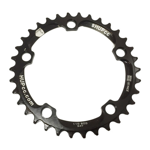 HUP 34T/36T/38T/40T 110bcd Narrow-Wide Chainrings: Kids Road Race/Cyclocross/MTB Race Bikes