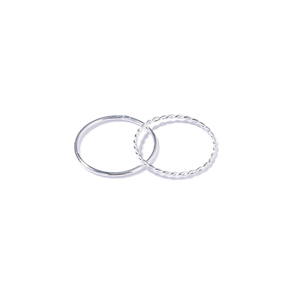 Set de dos anillos de plata - CURLY & CIRCLE SET