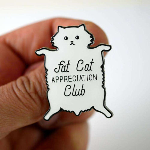 Fat Cat Appreciation Club Pin, White by Studiocult.co on Katt.