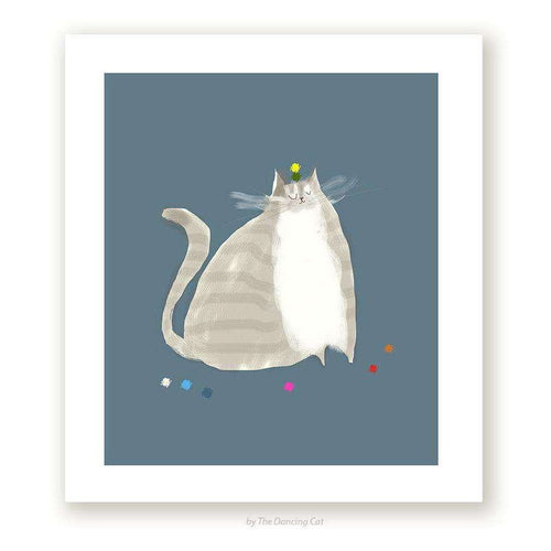 Big Grey Cat Print by The Dancing Cat on Katt.