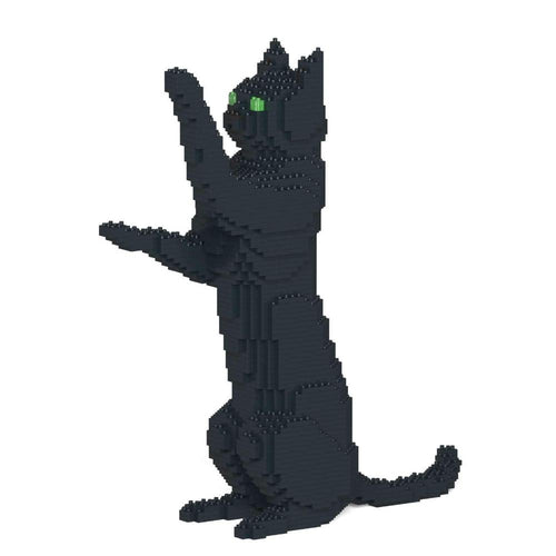 Black Cat Sculpture, Sitting Upright (39.2 x 35.6 cm / 15.4