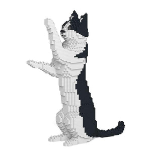 "Black & White Cat Sculpture, Sitting Upright (39.2 x 35.6 cm / 15.4"" x 14.0"") by JEKCA on Katt."