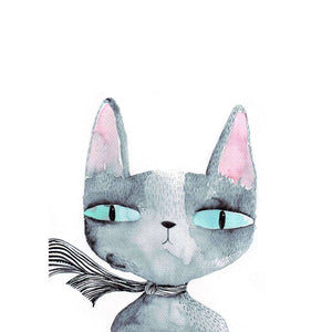 Blue Eyed Cat Print by Surfing Sloth on Katt.