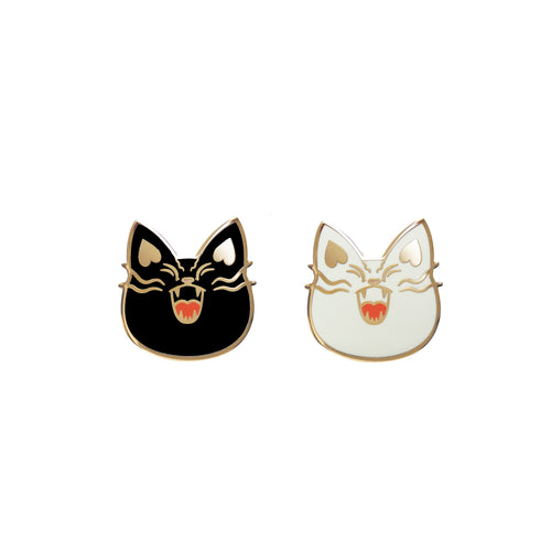 Black & White Mad Cat Pin, Black & White Set - Pin by Shugarush on Katt.