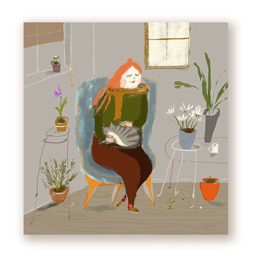 Cat Lady With Houseplants Print - Print by The Dancing Cat on Katt.