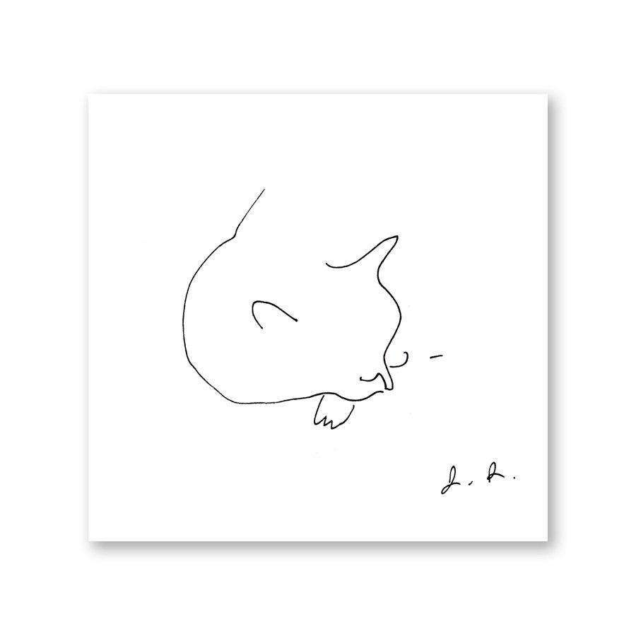 Cat Nap Minimalist Print by The Dancing Cat on Katt.