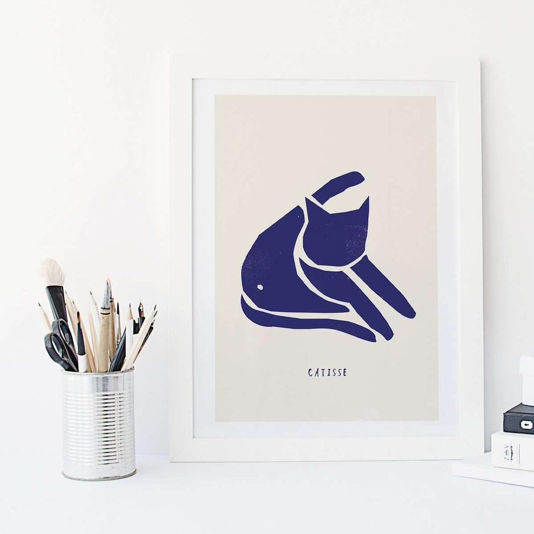 Catisse Blue Cat Print by Niaski on Katt.