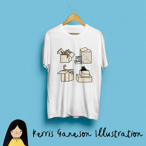 Cats in Boxes Kids T-Shirt by Kerris Ganeson on Katt.