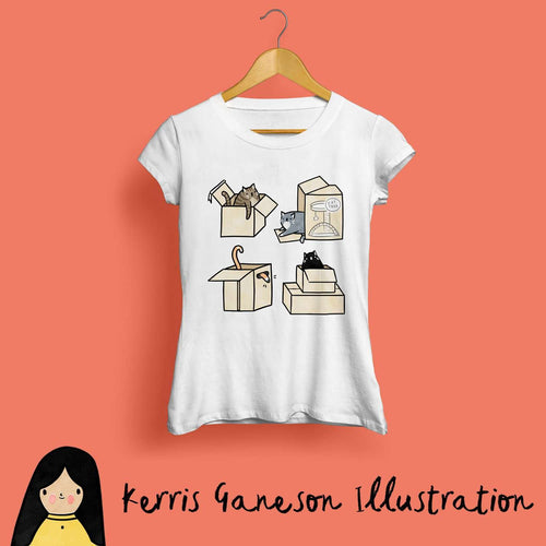 Cats in Boxes Ladies T-Shirt by Kerris Ganeson on Katt.