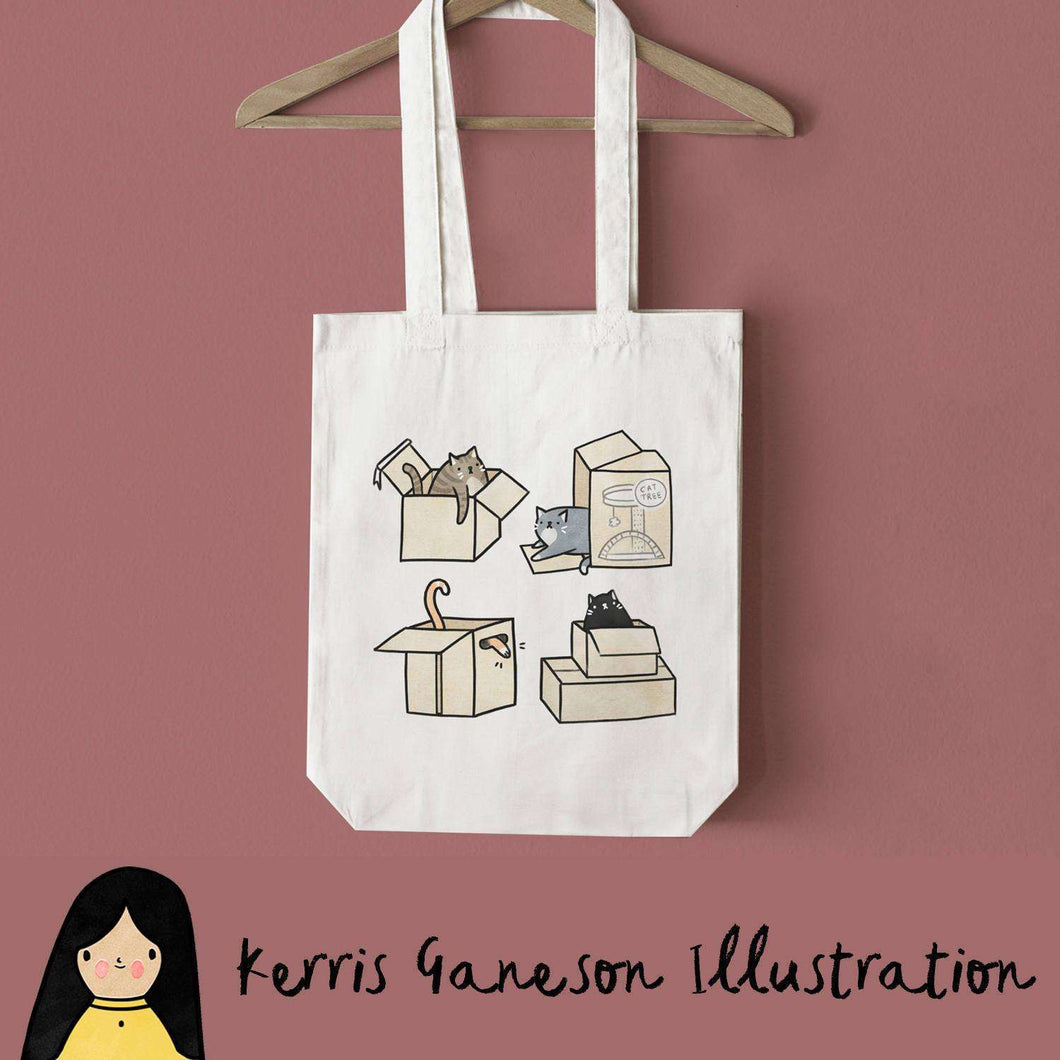 Cats in Boxes Tote Bag by Kerris Ganeson on Katt.