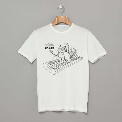 Cats On Synthesizers In Space T-Shirt White by Cats On Synthesizers In Space on Katt.