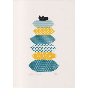 Cosy Cat In The Sun Print by Peskimo on Katt.