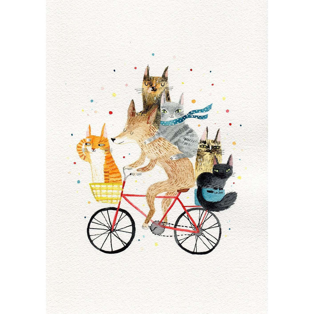 Five Cats with Cycling Dog Print by Surfing Sloth on Katt.