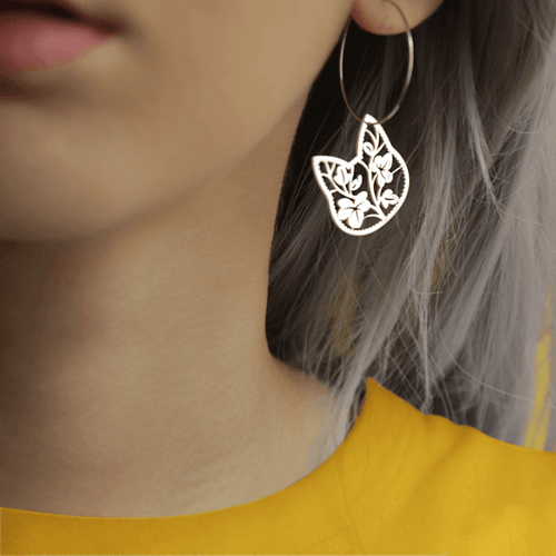 Floral Cat Hoop Earring - Earrings by Shugarush on Katt.