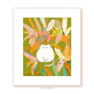 Flower Cat Print by The Dancing Cat on Katt.
