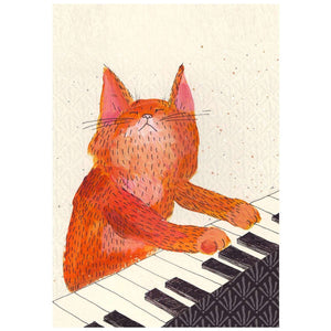 Ginger Cat Playing Piano Print by Surfing Sloth on Katt.