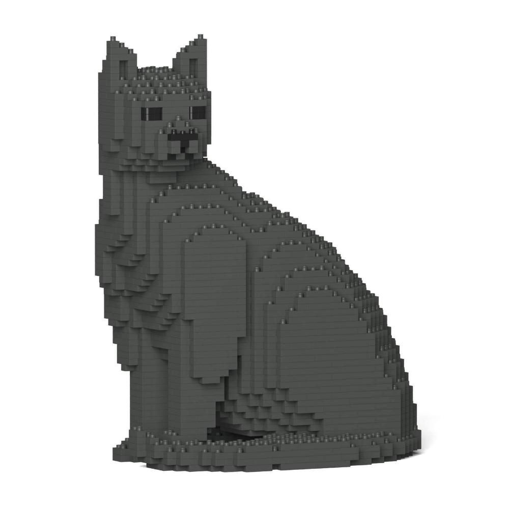 Grey Cat Sculpture, Sitting (27.1 x 22.5 cm / 10.7