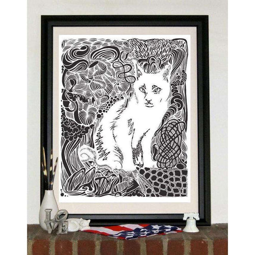 Hatchet Garden Cat Print by The 50/50 Company on Katt.