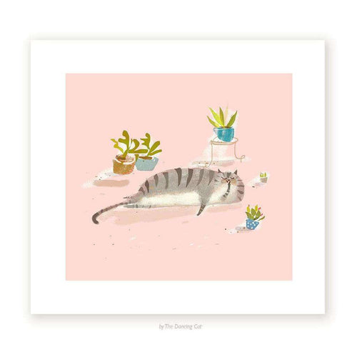 House Cat With Houseplants Print - Print by The Dancing Cat on Katt.