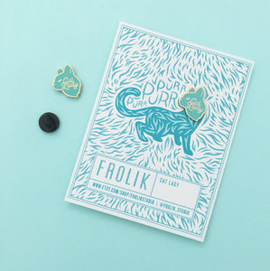 Cat Lady Pin, Mint and Gold by Frolik on Katt.