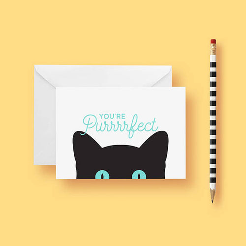 You're Purrrfect Greeting Card by Frolik on Katt.