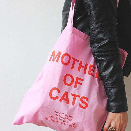 Mother of Cats Tote Bag, Pink by Niaski on Katt.