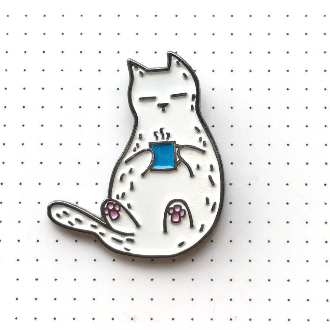 Coffee Cat Pin by Inky Cat on Katt.