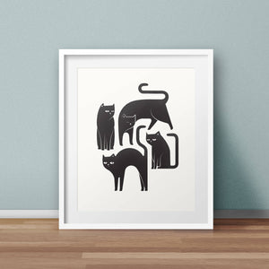 Here Kitty Cat Print by Frolik on Katt.