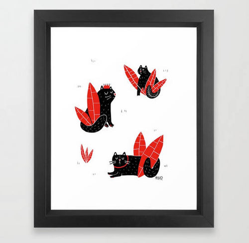 Red Leaf Cat Print by Nat Very B on Katt.