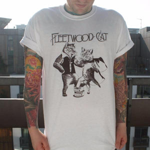 Fleetwood Cat T-Shirt - Men, S / White by Jackalope Clothing on Katt.