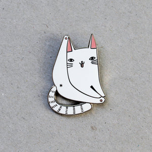 Cat Forever Pin, White by Surfing Sloth on Katt.