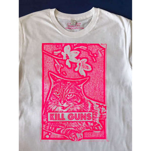 Kill Guns White T-Shirt by HOMOCATS on Katt.