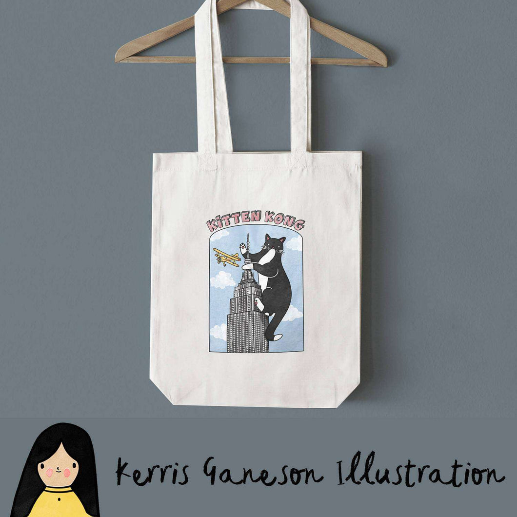 Kitten Kong Tote Bag by Kerris Ganeson on Katt.