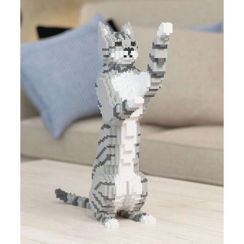 Light Grey Tabby Cat Sculpture, Sitting Upright (39.2 x 35.6 cm / 15.4