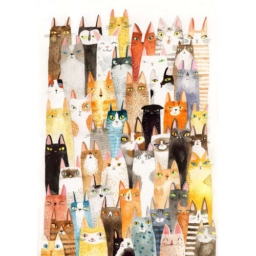 Lots of Colorful Cats Print by Surfing Sloth on Katt.