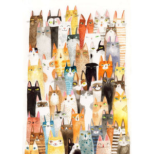 Lots of Colorful Cats Print - Print by Surfing Sloth on Katt.