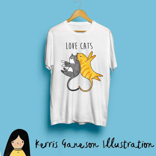 Love Cats Unisex T-Shirt by Kerris Ganeson on Katt.