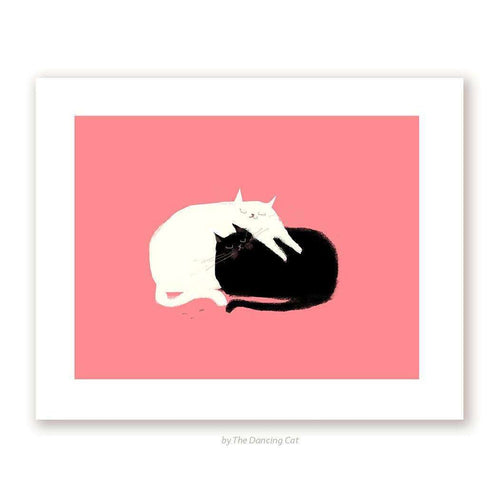 Love Pile Cat Print by The Dancing Cat on Katt.