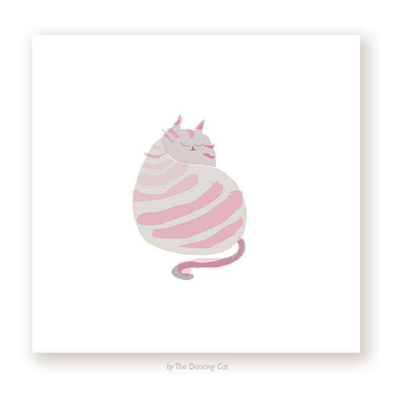 Miss Stripes Cat Back Print by The Dancing Cat on Katt.
