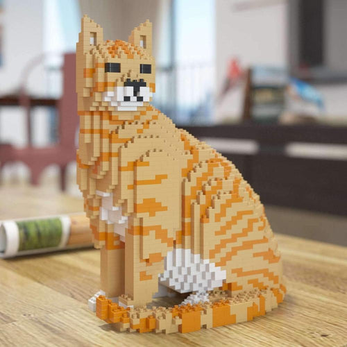 Orange Tabby Cat Sculpture, Sitting (27.1 x 22.5 cm / 10.7