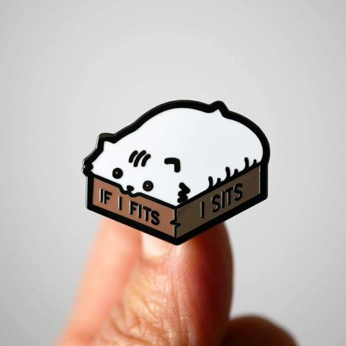 If I Fits I Sits Cat Pin by Studiocult.co on Katt.