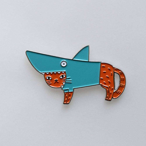 Shark Cat Pin, Ginger by Surfing Sloth on Katt.